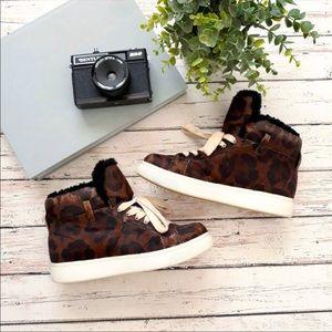 COACH Calf Hair Leopard Print High Tops Size 5.5
